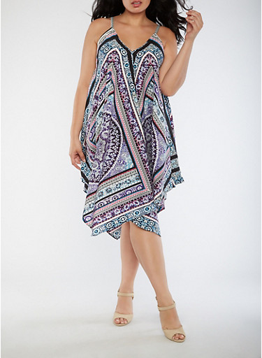Plus Size Printed Trapeze Dress,LILAC,large