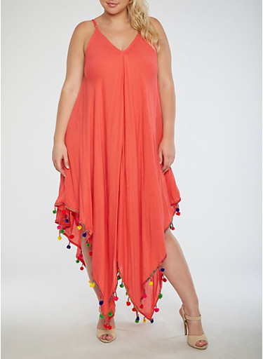 Plus Size Gauze Knit Trapeze Dress,CORAL,large