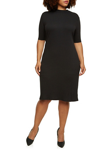 Plus Size Ribbed Dress with Short Sleeves,BLACK,large