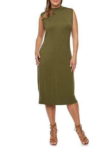 Plus Size Sleeveless Midi Dress with Mock Neck,OLIVE,large