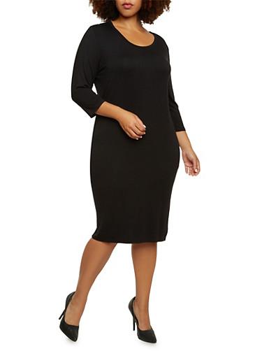 Plus Size Midi Dress with Scoop Neck,BLACK,large
