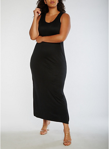 Plus Size Solid Maxi Dress,BLACK,large