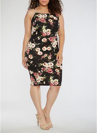 Plus Size Floral Tank Dress,BLACK/BLUSH,large