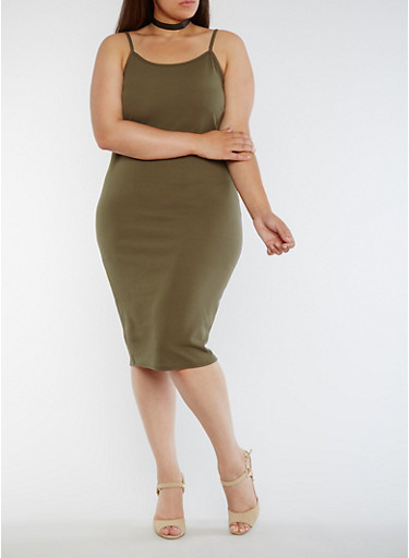 Plus Size Solid Tank Dress,OLIVE,large