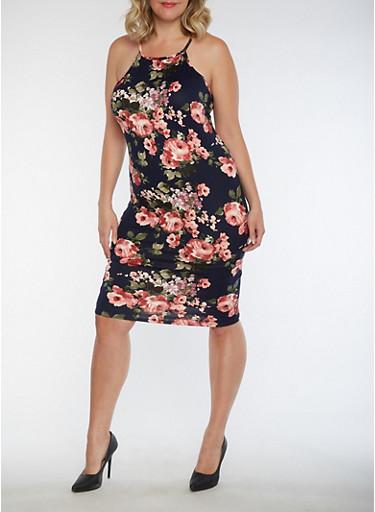 Plus Size Floral Tank Dress,NAVY,large