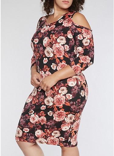 Plus Size Cold Shoulder Floral Print Midi Dress,BLACK/MAUVE,large