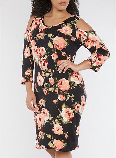 Plus Size Cold Shoulder Floral Print Midi Dress,BLACK/ROSE,large