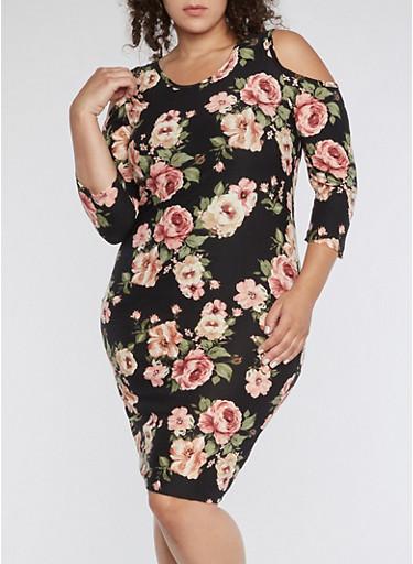 Plus Size Cold Shoulder Floral Print Midi Dress,BLACK,large
