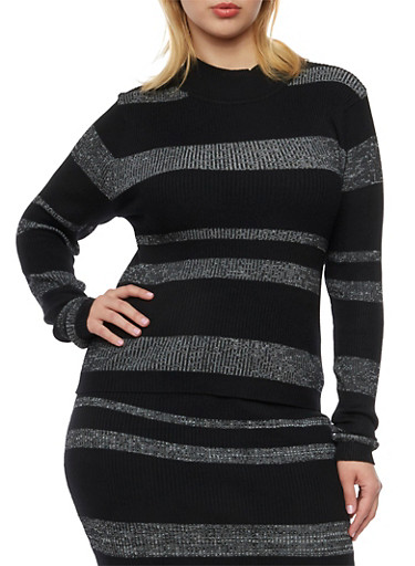 Plus Size Rib Knit Striped Sweater with Mock Neck,BLK-LT GRET,large
