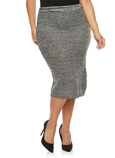 Plus Size Marled Knit Skirt,BLACK/GREY,large