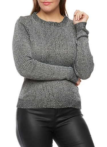 Plus Size Knit Sweater,BLACK,large