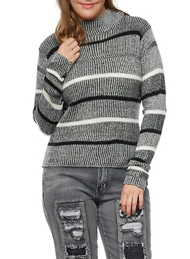 Plus Size Striped Sweater with Mock Neck,BLACK,large
