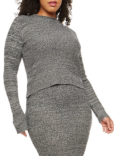 Plus Size Marled Knit Sweater,BLACK/GREY,large