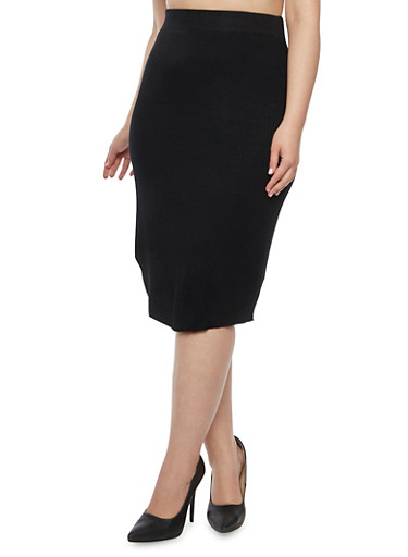 Plus Size Knit Pencil Skirt,BLACK,large