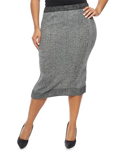 Plus Size Knit Midi Skirt,BLACK,large