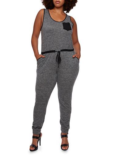 Plus Size Knit Jumpsuit with Drawstring Waist,BLACK,large