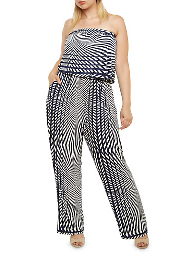 Plus Size Strapless Jumpsuit in Abstract Print,NAVY/WHITE,large