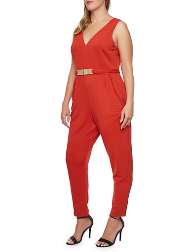 Plus Size Sleeveless Jumpsuit with Metallic Faux Belt,RUST,large