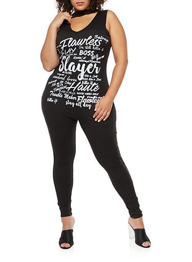 Plus Size Graphic Choker Neck Jumpsuit,BLACK/WHITE,large
