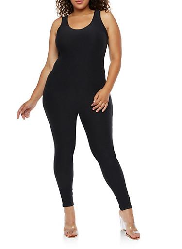 Plus Size Solid Catsuit,BLACK,large