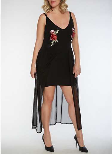 Plus Size Rose Patch Dress with Mesh Overlay,BLACK,large