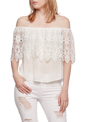 Off-The-Shoulder Top with Crochet Overlay,WHITE,large