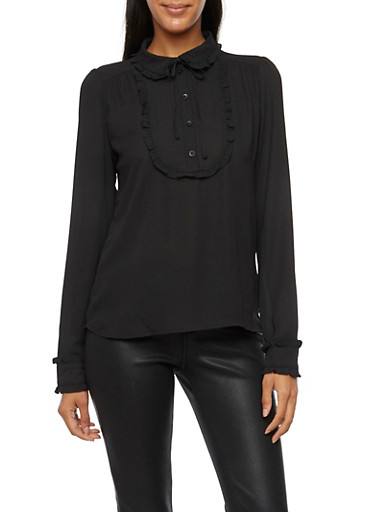Blouse with Ruffle Accents and Tied Neck,BLACK,large