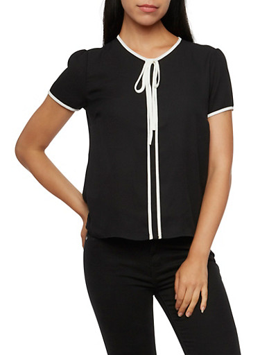 Chiffon Top with Contrast Trim,BLACK,large