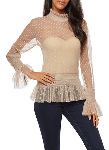 Long Sleeve Mesh Polka Dot Top,NUDE,large