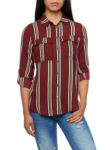 Striped Shirt with Tabbed Sleeves,BURGUNDY,large