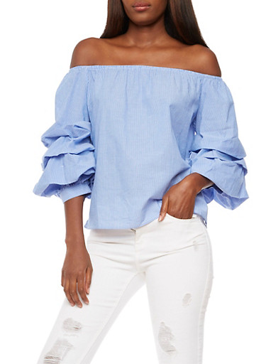 Striped Off the Shoulder Top with Tiered Sleeves,DENIM,large