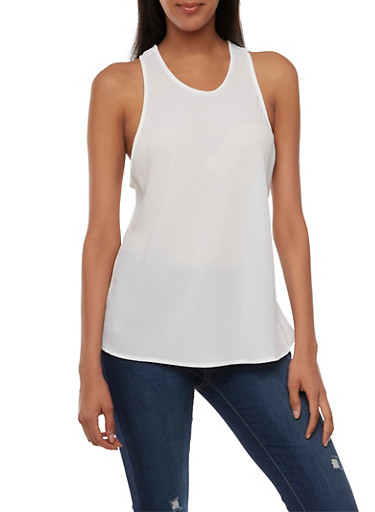 Crepe Tank Top with Racerback,WHITE,large