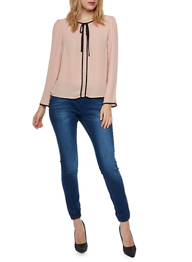 Chiffon Top with Contrast Trim,BLUSH,large