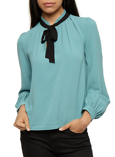 Crepe Knit Tie Mock Neck Top,TURQUOISE,large