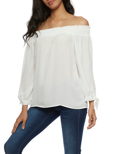 Solid Off the Shoulder Crepe Knit Top,WHITE,large