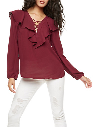 Long Sleeve Ruffle Blouse with Caging,EGGPLANT,large