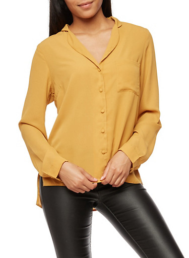 Solid Button Front Top,MUSTARD,large