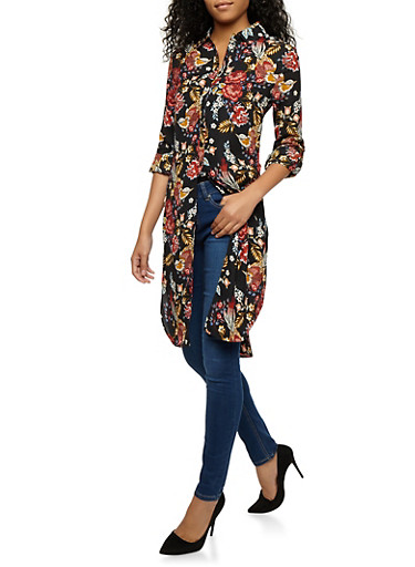 Floral Tab Sleeve Tunic Top,BLACK,large