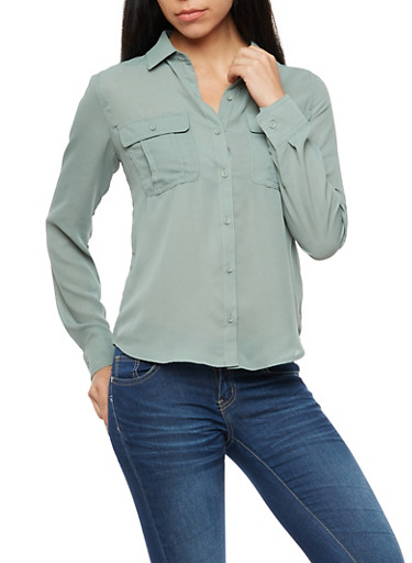 Solid Long Sleeve Basic Blouse at Rainbow Shops in Daytona Beach, FL | Tuggl