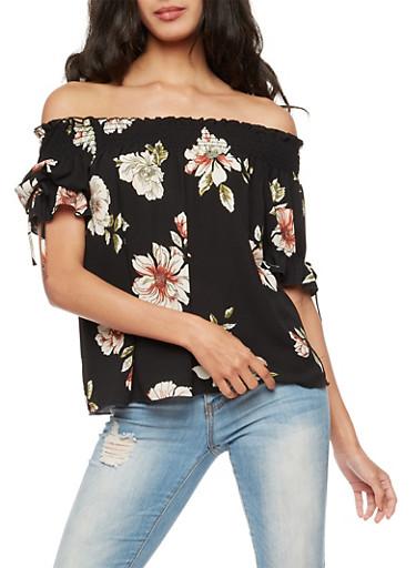Floral Crepe Knit Off the Shoulder Top,BLACK,large