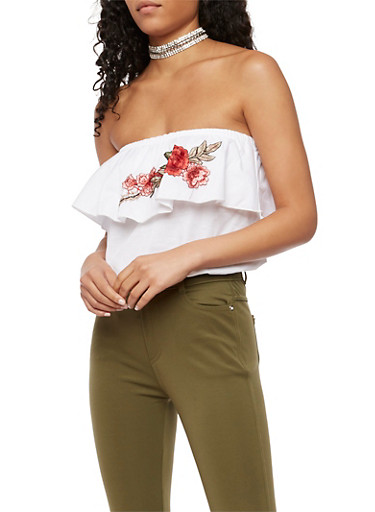 Tube Top with Rose Applique,WHITE,large