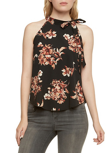 Floral Tank Top with Tie Neckline,BLACK,large
