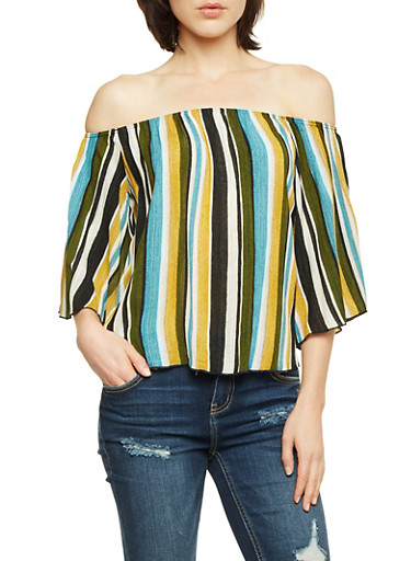 Off the Shoulder Top in Stripes,MUSTARD,large
