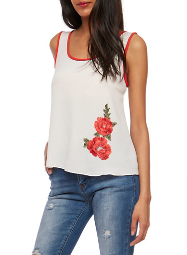 Soft Knit Tank Top with Flower Patch,RED,large