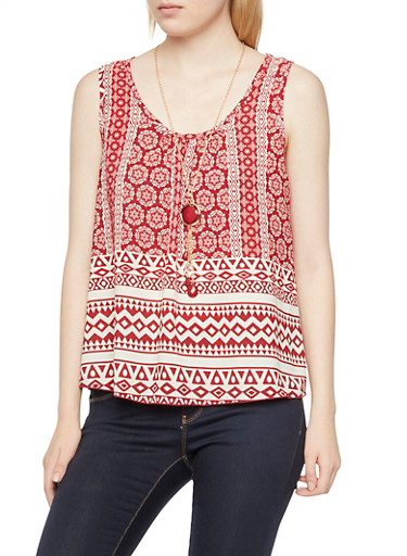 Mandala Print Top with Necklace,BURGUNDY,large