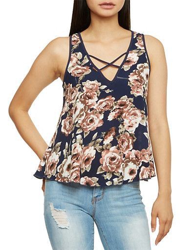 Printed Tank Top with Crisscross Straps,NAVY,large