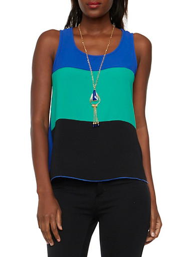 Color Block Tank Top with Necklace,KELLY RYL BLK,large