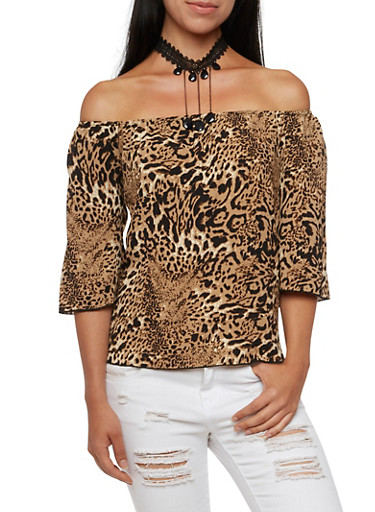 Off The Shoulder Top with Removable Crystal Choker Necklace,BROWN,large