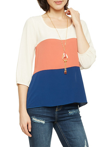 Color Block Top with Removable Necklace,MAUVE,large