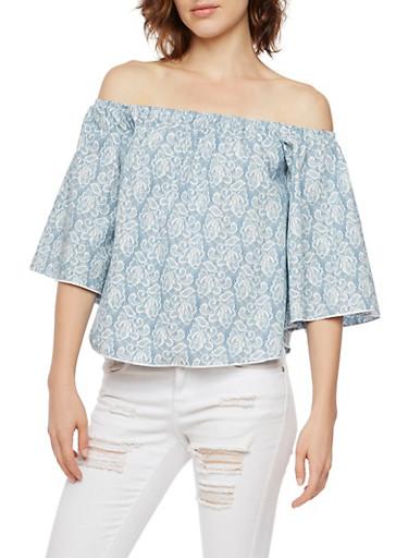 Off the Shoulder Denim Lace Top,BLUE,large